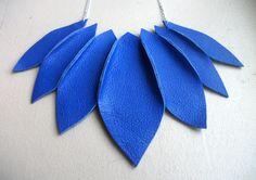 Electric Blue Botanical Leather Necklace. $35.00, via Etsy.