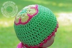 African Flower Cap, Baby Hat, Crochet Baby Hat, Baby Girl, African Flower Hat, Limelight, Green, Scalloped Trim, READY TO SHIP. $24.99, via Etsy.