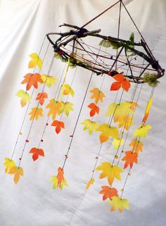 So beautiful. Love the sticks instead of wire like - Quilled Paper Art Autumn Crafts, Autumn Art, Nature Crafts, Autumn Leaves, Holiday Crafts, Diy And Crafts, Crafts For Kids, Arts And Crafts, Craft Markets