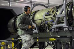 U.S. Air Force Airman 1st Class Matthew Jackson, 35th Maintenance Squadron test cell journeyman, performs pre-test checks on an F110-GE-129 engine used on an F-16 Fighting Falcon at Misawa Air Base, Japan, Oct. 23, 2013. The engine test cell at Misawa AB supports operations across the world, including two U.S. Air Force fighter wings in Korea. (U.S. Air Force photo by Senior Airman Derek VanHorn)