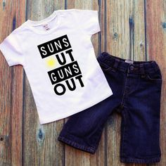 Funny baby boy shirt- Suns out guns out- Cute baby summer clothes- Toddler boy shirts -Baby boy clothes- kids summer shirt- Summer boy shirt by DaliceDesigns on Etsy