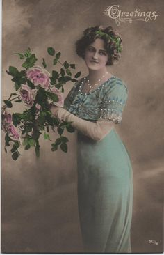 Roses and thorns antique postcard picture postcard vintage