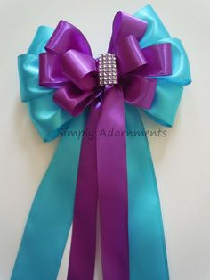Turquoise and Purple Bling Wedding Pew Bow by SimplyAdornmentsss