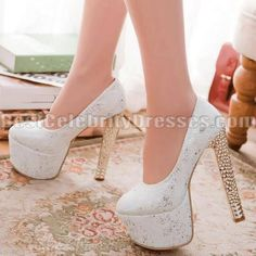 Glittering White Wedding Shoes Discount Platform Pumps Chunky ...