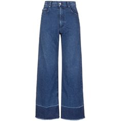 Rachel Comey 'Legion' raw edge cuff wide leg jeans (4.572.285 IDR) ❤ liked on Polyvore featuring jeans, blue, cuff jeans, cuffed jeans, raw edge jeans, flare jeans and flared jeans