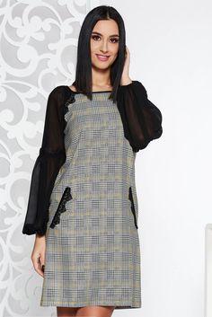 LaDonna black elegant dress from non elastic fabric with inside lining with straight cut with lace details Baptism Dress, Plaid Fabric, Dress Cuts, Straight Cut, Elegant Dresses, Clothing Patterns, Lace Detail, Size Clothing, New Dress