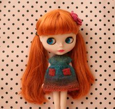 Blythe knitted dress with matching flower hair clip
