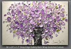 ORIGINAL Contemporary Textured Painting Purple Flowers Oil Painting Thick Impasto Bouquet in Vase by Susanna. $375.00, via Etsy.
