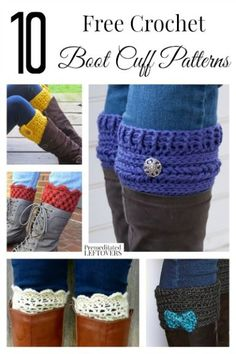 10 Free Crochet Boot Cuff Patterns Boot cuffs are in right now and they keep you so much warmer! Make a few in an afternoon with these 10 free crochet boot cuff patterns! Guêtres Au Crochet, Crochet Gratis, Crochet Boots, Crochet Slippers, Learn To Crochet, Crochet Clothes, Free Crochet, Crochet Baby, Crochet Style