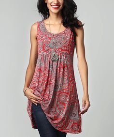 This Reborn Collection Red Paisley Sleeveless Empire-Waist Tunic Dress by Reborn Collection is perfect! #zulilyfinds