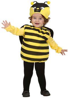Disfraz de abeja para niño: Este disfraz de abeja para niño está compuesto por un mono y un gorro (camiseta, medias y zapatos no incluidos). El mono es a rayas de color amarillo y negro con alas negras cosidas en...