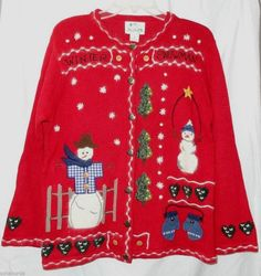 Christmas Sweater Red M Winter Snowman Cardigan Heart Buttons QUACKER FACTORY  #QuackerFactory #Cardigan #Christmas