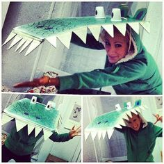 No haters with this gator costume! What you need to do: Turn cardboard into a gator mouth, and use plastic cups as the eyes. Wear a green long-sleeved shirt and pants.  Source: Instagram user hellolightfoot