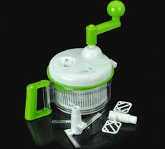 Quantity	1 piece(s) per pack  Color	Green + white  Material	PC + PP  Function	The Kitchen machine is the latest revolutionary way to chop, grind, mince, blend and beat your favorite foods. It requires no electricity so you can use it anywhere, indoors or outdoors. It is so easy to use and w...