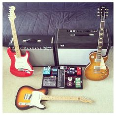 Morgan and Fender Deluxe Amps, Gibson Les Paul, Fender Stratocaster and Telecaster Guitars, and a great pedal board.