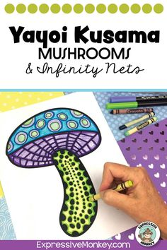 Yayoi Kusama mushroom art project!  This art lesson will not only help you draw mushrooms but also add infinity nets in the background.  Teach about color groups with color wheels and color group matching.  A timeline activity and rubrics are also included. History Lessons For Kids, Art Lessons For Kids, Art Activities For Kids, Art Lessons Elementary, Art For Kids, Famous Artists Today, Art Classroom Management, Geography Activities, Batik Art