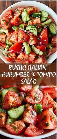Rustic Cucumber And Tomato Salad Recipes SALAD Rustikale Gurken-Tomaten-Salat-Rezepte Tomato Salad Recipes, Best Salad Recipes, Vegetarian Recipes, Cucumber Recipes, Cooking Recipes, Keto Recipes, Recipes Dinner, Italian Salad Recipes, Vegetarian Appetizers