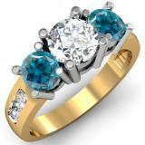Share 2.00 Carat (ctw) 18K Yellow Gold Round Blue & White Diamond Ladies 3 Stone Engagement Bridal Ring 2 CT - Dazzling Rock #https://www.pinterest.com/dazzlingrock/