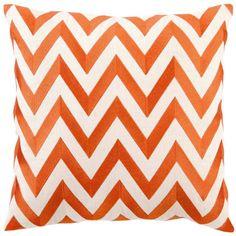 $90 DL Rhein Zig Zag Orange Embroidered Pillow