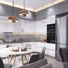Room Design Bedroom, Kitchen Room Design, Small Space Kitchen, Luxury Kitchen Design, Open Concept Kitchen, Home Decor Kitchen, Kitchen Layout, Interior Design Kitchen, Kitchen Sets
