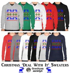 Christmas Ugly Sweater ( Deal With It ) Cool, red nosed reindeer......wearing dark sunglasses. Funny Christmas holiday Ugly Sweater pattern. #Society6 #Gravityx9 #uglysweater #christmassweater