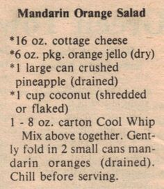 Fruit snacks jello mandarin oranges 31 new Ideas Jello Recipes, Fruit Salad Recipes, Fruit Snacks, Old Recipes, Vintage Recipes, Fruit Salads, Recipies, Fruit Party, Mandarin Orange Jello Salad