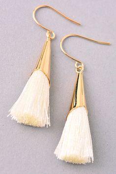 The Kiera Earrings statement tassel earrings Lead Nickel Free Tassel Earing, Tassel Jewelry, Jewelery, Jewelry Accessories, Fashion Accessories, Jewelry Design, Beaded Earrings, Statement Earrings, White Earrings