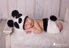 Newborn Panda Bear Photo Prop/ Crochet Panda Bear by WillowsGarden