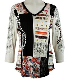 Cactus Fashion - Ornamental Patchwork, 3/4 Sleeve, Crew Neck, Printed Top