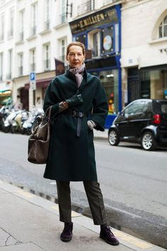 On the Street……So So Chic, Paris « The Sartorialist, love the green coat and purple lace-ups, I want to look this fierce in my 6th decade...