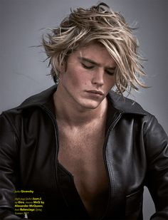 """justdropithere: """"Jordan Barrett by Mariano Vivanco - Fucking Young! """" H'es BEAUTIFUL!… and in leather!"""