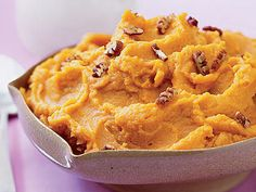 Learn how to make Whipped Maple Sweet Potatoes. MyRecipes has tested recipes and videos to help you be a better cook Whipped Sweet Potatoes, Sweet Potato Pecan, Sweet Potato Recipes, Thanksgiving Side Dishes, Thanksgiving Recipes, Holiday Recipes, Holiday Foods, Holiday Dinner, Side Dishes Easy