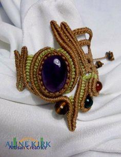 bracelet tissée macramé, original, pierres fines de Aline KIRK bijoux et accessoires en cuir sur DaWanda.com