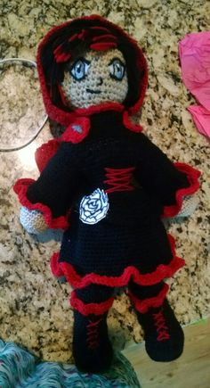 My crocheted creation of Ruby Rose from RWBY!