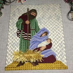 Rebecca Wood Holy Family needlepoint canvas More Needlepoint Stitches, Needlepoint Patterns, Needlepoint Canvases, Needlework, Cross Stitch Embroidery, Cross Stitch Patterns, Bargello Patterns, Nativity Ornaments, Christmas Embroidery