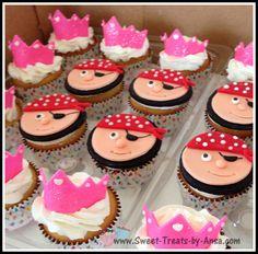 Princess and Pirates theme bday cupcakes - by Ansa @ CakesDecor.com - cake decorating website