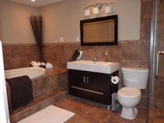 Chocolate brown bathroom vanity brown tile bathroom floor bathroom remodel black vanity small bathroom remodels in . Dark Brown Bathroom, Brown Bathroom Decor, White Bathroom, Bathroom Interior, Master Bathroom, Cream Bathroom, Baths Interior, Bathroom Green, Classic Bathroom