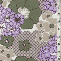 Tan/Sage Floral Lawn - Discount Fabrics