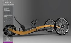 The Crossbow concept is a recumbent trike powered by two front electric motors, front shock absorbers and an Omni wheel as a rear wheel. The Omni allows the driver to steer in close angle and drift along the curves for an extreme fun driving experience. Wooden Bicycle, Wood Bike, Recumbent Bicycle, Motorized Bicycle, Velo Design, Bicycle Design, Tricycle Bike, Scooter Bike, E Biker