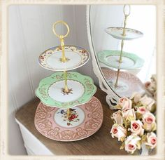 I would use vintage cake stands