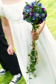 Floral scepter for flower girl (violets and thistle.)