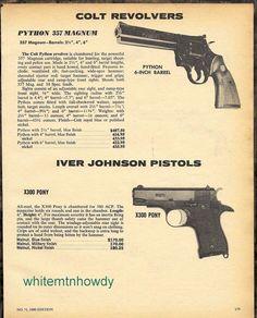 "1980 COLT PYTHON .357 Magnum 6"" barrel Revolver AD w/ IVER JOHNSON X300 Pistol #Walther"
