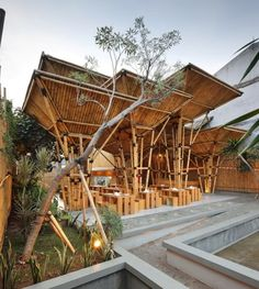 Image 6 of 21 from gallery of Unique Architecture, Unique Dining Experiences. Restaurant in Greenville, photo courtesy of DSA+s Architecture Unique, Bamboo Architecture, Tropical Architecture, Vernacular Architecture, Restaurant En Plein Air, Outdoor Restaurant, Noodle Restaurant, Outdoor Cafe, Bamboo Roof