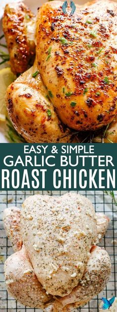 Easy Roast Chicken Recipe Roast Chicken Recipe - Simple Roast Chicken flavored with garlic, butter and herbs, then oven roasted to a golden, crispy, and juicy perfection! EASY, simple to make and flavorful, this is the BEST roast chicken, and it's perfect for weekend or weeknight dinners. #roastedchicken #chickenrecipes #lowcarb<br> Whole Chicken Recipes Oven, Whole Baked Chicken, Best Roasted Chicken, Easy Roast Chicken, Roast Chicken Recipes, Stuffed Whole Chicken, Roast Chicken And Stuffing, Roasting Chicken In Oven, Simple Baked Chicken Recipes