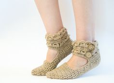 Crochet Women Slippers With Buttons, Leg Warmers. $24.00, via Etsy.
