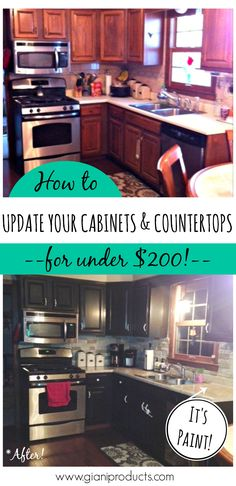 Kitchen update on a budget! Countertop paint that looks like granite and one-day cabinet makeover. #DIY www.gianigranite.com www.nuvocabinetpaint.com
