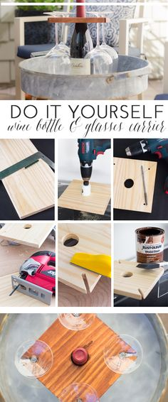 DIY Wine Bottle and Glass Carrier