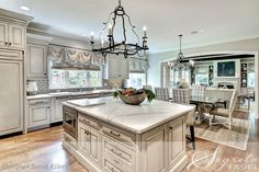 love the flow (cabinets finishes by Segreto); BM Grant Beige (half formula) on the walls
