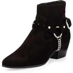 Saint Laurent Wyatt Studded Suede Boot featuring polyvore fashion shoes boots ankle booties nero side zip boots studded booties black boots ankle strap booties strappy booties