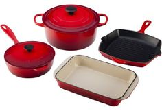 Le Creuset Enameled Cast-Iron 6-Piece Cookware Set, Cherry *** Continue to the product at the image link.